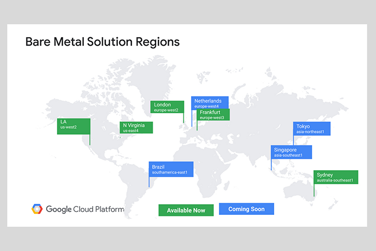 Google Cloud expands Bare Metal Solution to new regions
