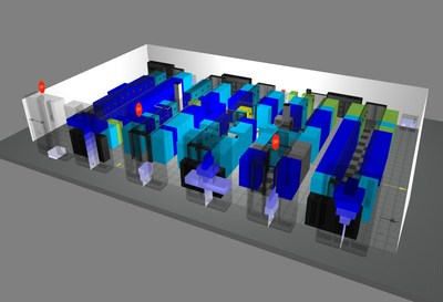 Thermal Map of Data Hall in Digital Realty's West Drayton Data Centre, London, UK.