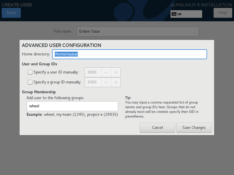 Advanced user configuration | Select home directory and add user to group