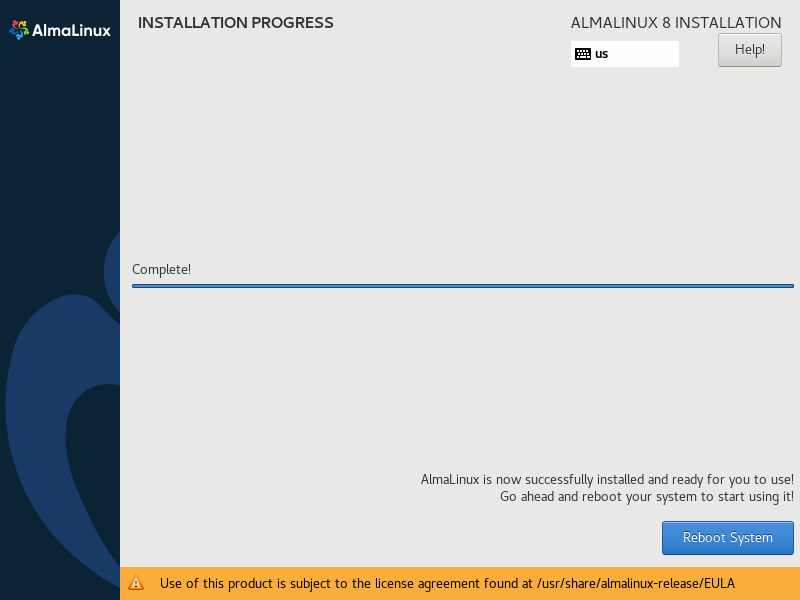 Reboot after installation complete