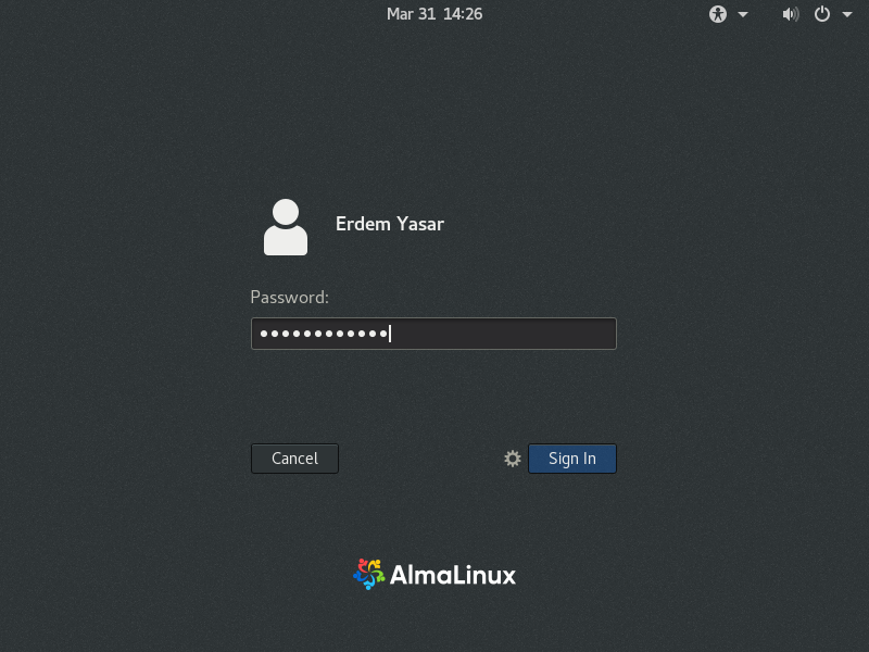 Login to AlmaLinux using your credentials