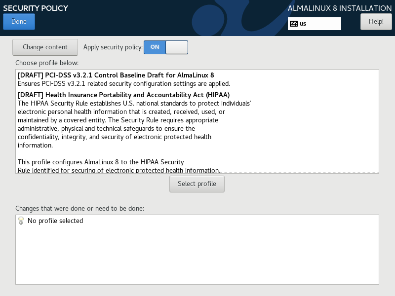 Choose security policy and select profile