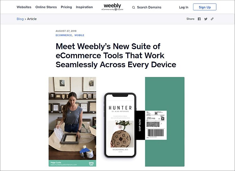 E-commerce tools - Weebly