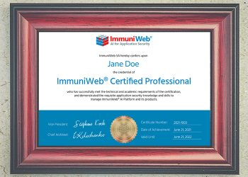ImmuniWeb welcomes 52 certified professionals